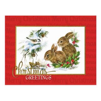 クリスマスの挨拶のウサギのヴィンテージの再生 ポストカード