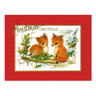 クリスマスの挨拶のキツネのヴィンテージの再生 ポストカード
