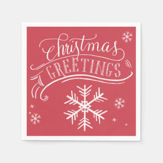 クリスマスの挨拶の雪片の休日 スタンダードカクテルナプキン