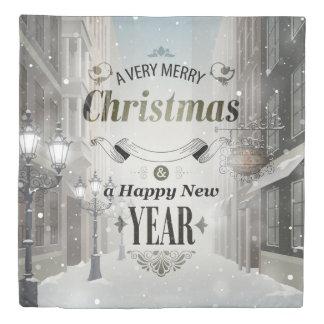 クリスマスの挨拶(1つの側面)の女王の羽毛布団カバー 掛け布団カバー
