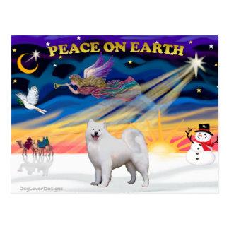 クリスマスの日の出- Samoyed ポストカード