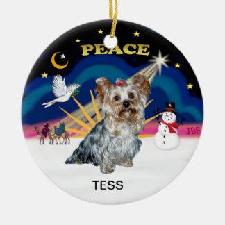 クリスマスの日の出- (t)、TESSヨークシャーテリア セラミックオーナメント