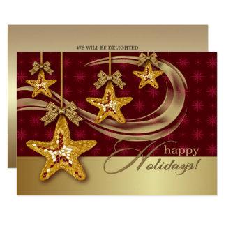 クリスマスの星のデザインのクリスマスのパーティの招待状 カード