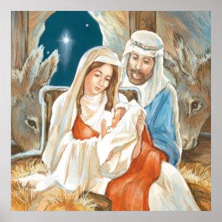 クリスマスの星の出生の絵画 ポスター