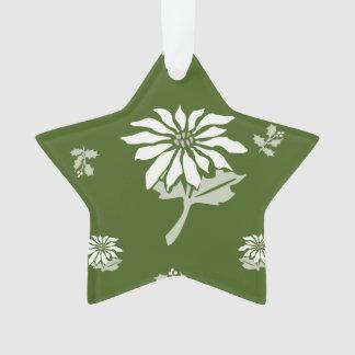 クリスマスの星の装飾の緑のポインセチア オーナメント