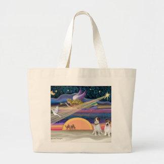 クリスマスの星-ジャックラッセルテリア(2) ラージトートバッグ