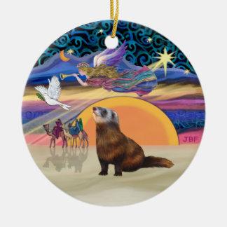 クリスマスの星-フェレット1 セラミックオーナメント