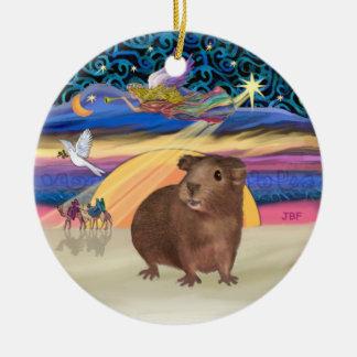 クリスマスの星-ブラウンのモルモット セラミックオーナメント