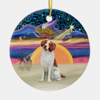 クリスマスの星-ブリッタニースパニエル犬 セラミックオーナメント