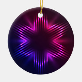 クリスマスの星 陶器製丸型オーナメント