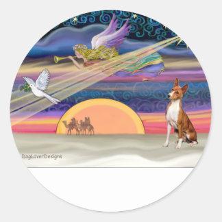 クリスマスの星- Basenji ラウンドシール