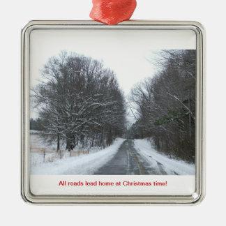 クリスマスの時間の道の家 メタルオーナメント
