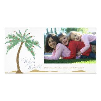 クリスマスの暖かい願い、ヤシの木のビーチ カード