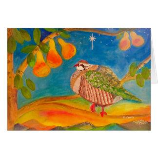 クリスマスの曉のナシ木のヤマウズラ カード