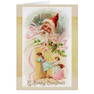 クリスマスの朝カードのヴィンテージサンタ カード