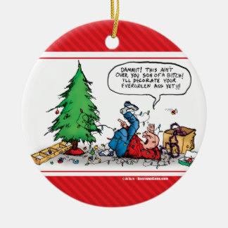 クリスマスの木の戦いのおもしろいな漫画のオーナメント セラミックオーナメント