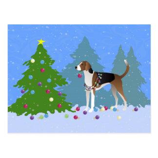 クリスマスの木森林を飾っているアメリカFoxhound ポストカード