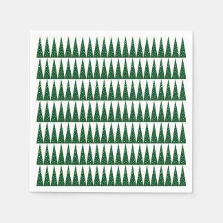 クリスマスの木|緑のカラフルなパターンデザイン スタンダードカクテルナプキン