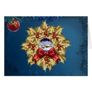 クリスマスの村のリースカード カード