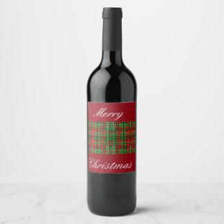 クリスマスの格子縞のワインのラベル ワインラベル