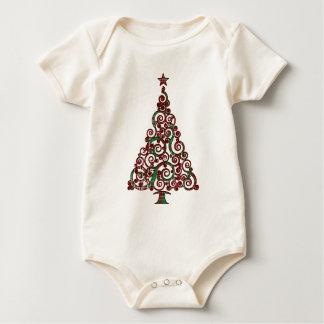 クリスマスの格子縞の木 ベビーボディスーツ