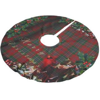 クリスマスの格子縞の(鳥)ショウジョウコウカンチョウ ブラッシュドポリエステルツリースカート