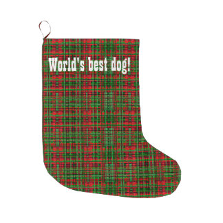 クリスマスの格子縞犬のストッキング ラージクリスマスストッキング