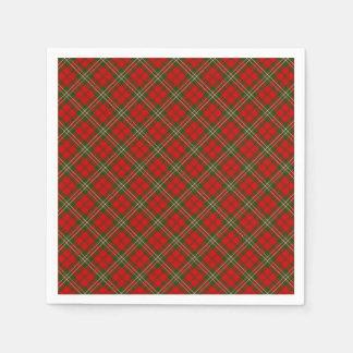 クリスマスの格子縞 スタンダードカクテルナプキン