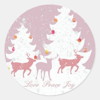クリスマスの森林 ラウンドシール