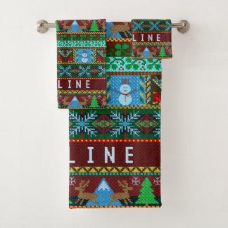 クリスマスの模造のなニットの雪だるまのトナカイ の名前をカスタムする バスタオルセット