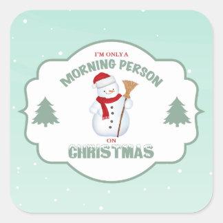 クリスマスの正方形のステッカーの朝人 スクエアシール