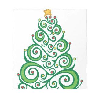 クリスマスの渦巻の木 ノートパッド