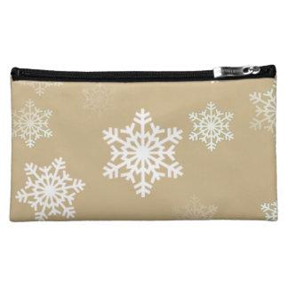 クリスマスの無光沢の金ゴールドの雪の薄片 コスメティックバッグ