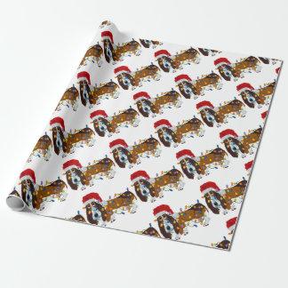 クリスマスの照明でもつれるバセット犬 ラッピングペーパー