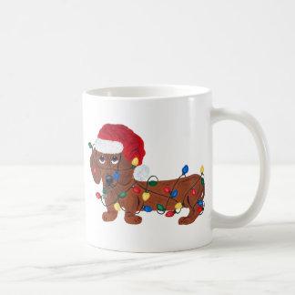 クリスマスの照明で(赤い)もつれるダックスフント コーヒーマグカップ