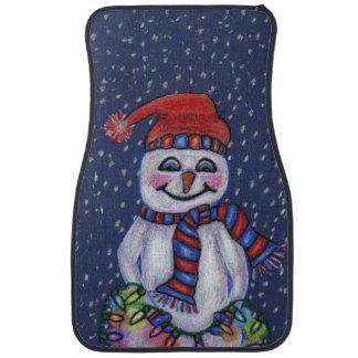 クリスマスの照明の微笑の雪だるまの雪片 カーマット
