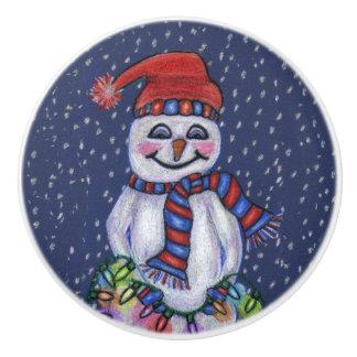 クリスマスの照明の微笑の雪だるまの雪片 セラミックノブ