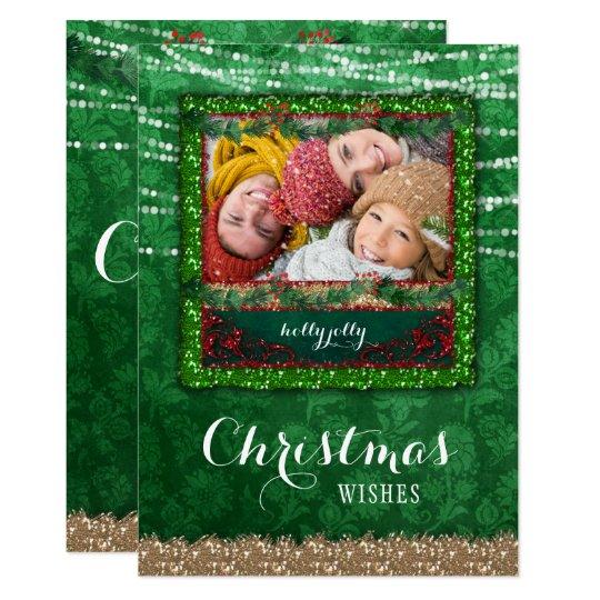 クリスマスの照明の緑のダマスク織の写真カード 12.7 X 17.8 インビテーションカード