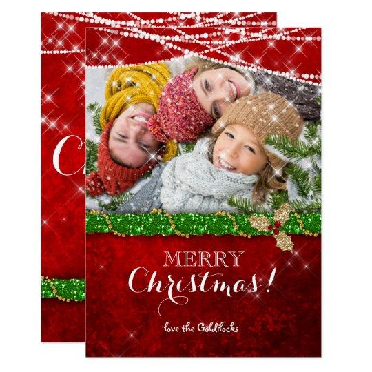クリスマスの照明の緑の花輪のヒイラギの写真カード カード