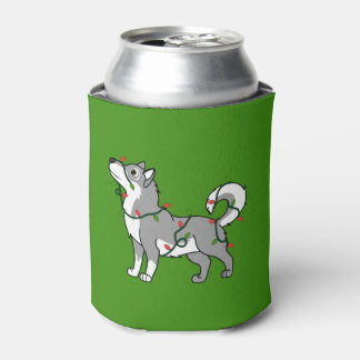 クリスマスの照明を持つ灰色のアラスカンマラミュート 缶クーラー
