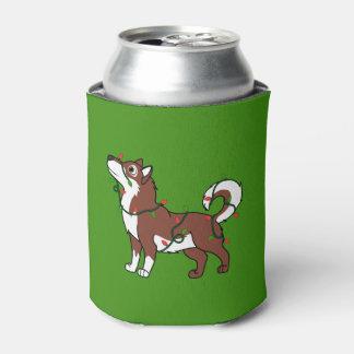 クリスマスの照明を持つ赤いアラスカンマラミュート 缶クーラー