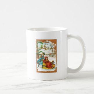 クリスマスの犬およびそり コーヒーマグカップ