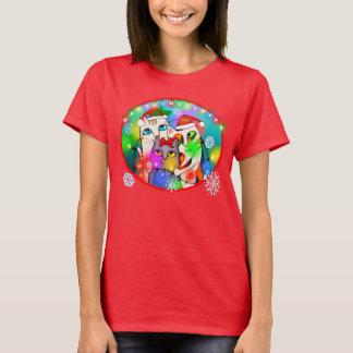 クリスマスの猫好きのTシャツ Tシャツ