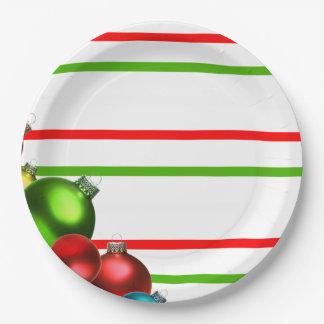 """クリスマスの球及びストライプの紙皿9""""の9インチ ペーパープレート"""