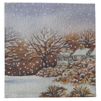 クリスマスの田園コテッジの雪場面芸術のナプキン ナプキンクロス