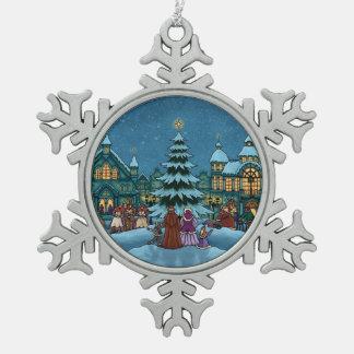 クリスマスの町の冬休み スノーフレークピューターオーナメント