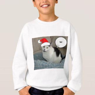 クリスマスの白黒子ネコ スウェットシャツ
