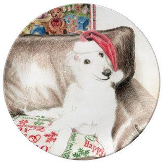 クリスマスの磁器の絹のWindhoundの子犬のプレート 磁器プレート