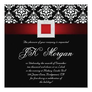 クリスマスの社内パーティーの招待はスクエア赤い白黒を宝石で飾ります カード