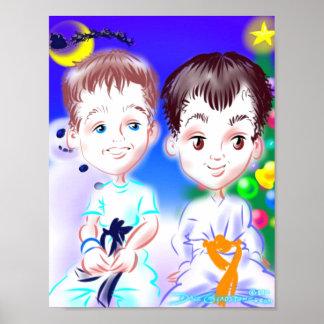 クリスマスの空手の風刺漫画のプリント ポスター